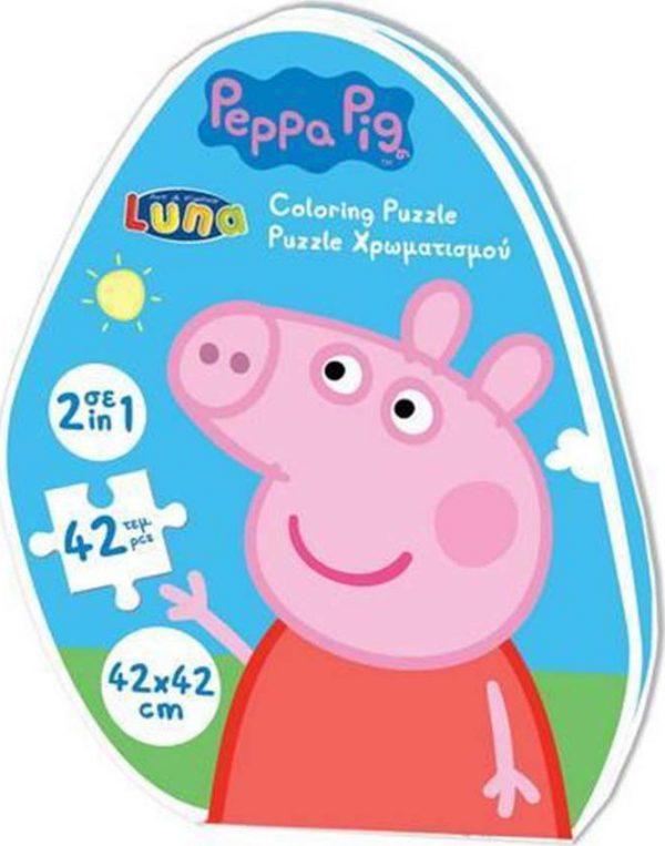 puzzle peppa pig coloring puzzle 42pcs 482494 luna grammibookshop